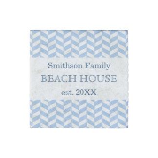 Herringbone Blue White Beach House Custom Stone Magnet