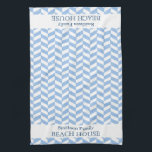 """Herringbone Blue White Beach House Custom Hand Towel<br><div class=""""desc"""">This pretty, personalized beach house design has a lightly textured blue-and-white herringbone pattern. Easily add your personal details to the templates and they will appear at both ends of the towel. You can even change &quot;beach house&quot; to &quot;summer home, &quot; &quot;lake house&quot; or any other wording you&#39;d like. This modern,...</div>"""