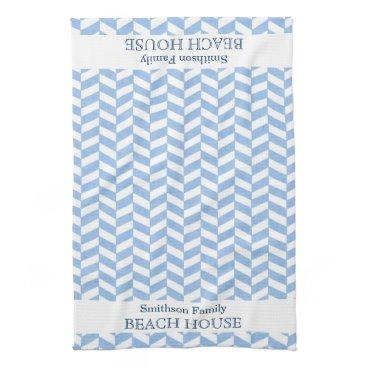 FancyCelebration Herringbone Blue White Beach House Custom Hand Towel