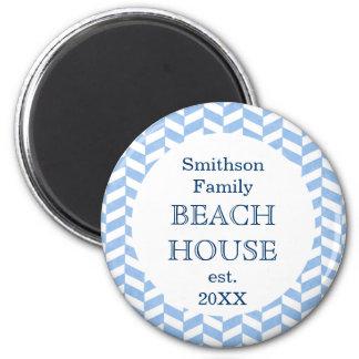 Herringbone Blue White Beach House Custom Refrigerator Magnets