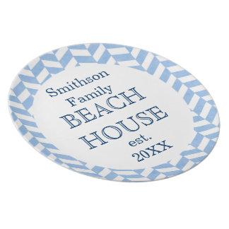 Herringbone Blue White Beach House Custom Melamine Plate