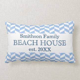 Herringbone Blue White Beach House Custom Name Lumbar Pillow