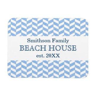 Herringbone Blue White Beach House Custom Vinyl Magnets