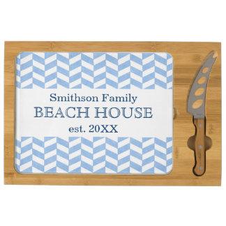 Herringbone Blue White Beach House Custom Rectangular Cheese Board