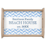 Herringbone Blue White Beach House Custom Serving Tray