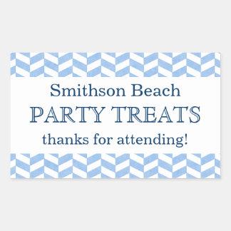 Herringbone Blue White Beach Party Custom Favor Rectangular Sticker