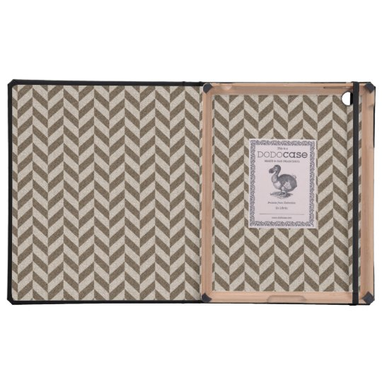 Herringbone Chevrons Pattern in Beige and Brown Cases For iPad