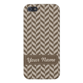 Herringbone Chevrons Pattern in Beige and Brown iPhone SE/5/5s Case