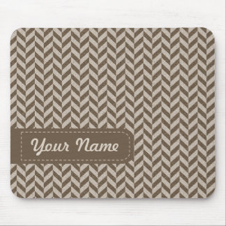 Herringbone Chevrons Pattern in Beige and Brown Mouse Pad