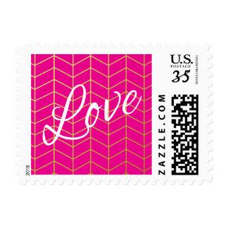 Herringbone Faux Gold Foil Love Hot Pink Geometric Postage