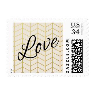 Herringbone Faux Gold Foil Love Ivory Geometric Postage Stamp