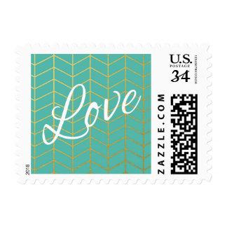 Herringbone Faux Gold Foil Love Mint Geometric Stamp