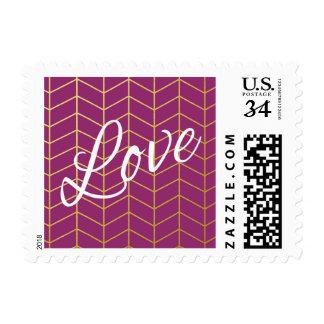 Herringbone Faux Gold Foil Love Purple Geometric Postage