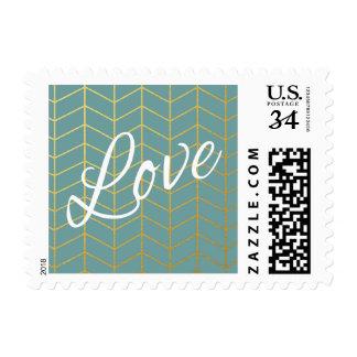 Herringbone Faux Gold Foil Love Teal Geometric Stamp