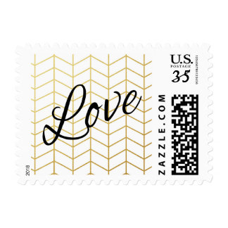 Herringbone Faux Gold Foil Love White Geometric Postage