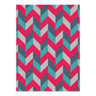 Herringbone Geometric Blue Red Gray Card