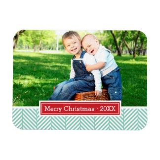 Herringbone Holiday Monogram Photo Magnet