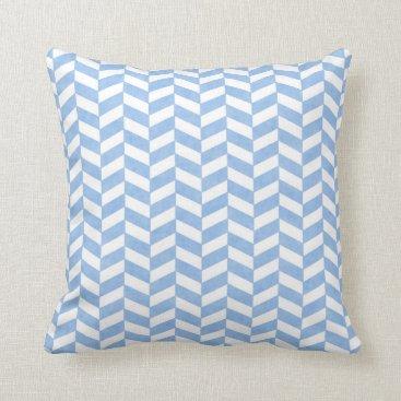 Beach Themed Herringbone Light Baby Blue White Beach Colors Throw Pillow
