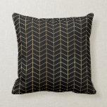 Herringbone Pattern Faux Gold Foil Black Geometric Throw Pillow