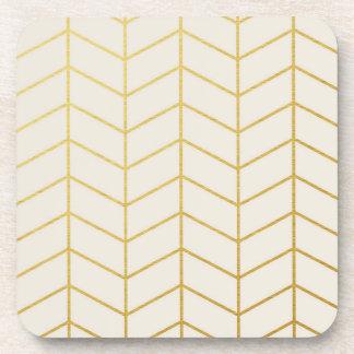 Herringbone Pattern Faux Gold Foil Ivory Geometric Drink Coaster