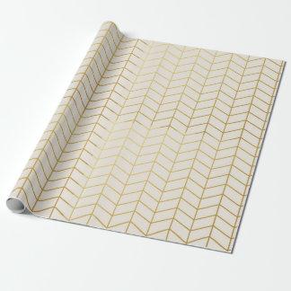 Herringbone Pattern Faux Gold Foil Ivory Geometric Wrapping Paper