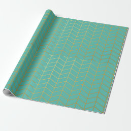 Herringbone Pattern Faux Gold Foil Mint Geometric Wrapping Paper