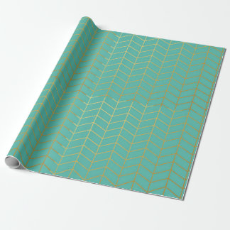 Herringbone Pattern Faux Gold Foil Mint Geometric Wrapping Paper