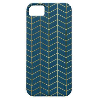 Herringbone Pattern Faux Gold Foil Navy Geometric iPhone 5 Covers