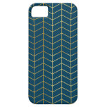 Herringbone Pattern Faux Gold Foil Navy Geometric iPhone 5 Covers