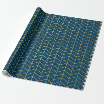 Herringbone Pattern Faux Gold Foil Navy Geometric Wrapping Paper