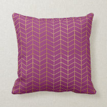 Herringbone Pattern Faux Gold Foil Purple Geo Throw Pillow