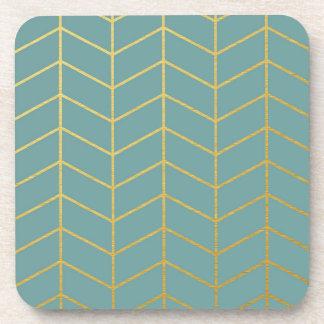Herringbone Pattern Faux Gold Foil Teal Geometric Drink Coaster