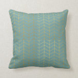 Herringbone Pattern Faux Gold Foil Teal Geometric Pillow