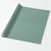 Herringbone Pattern Faux Gold Foil Teal Geometric Wrapping Paper