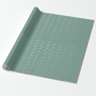 Herringbone Pattern Faux Gold Foil Teal Geometric Wrapping Paper