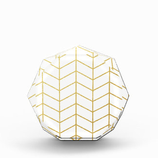 Herringbone Pattern Faux Gold Foil White Geometric Acrylic Award