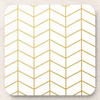 Herringbone Pattern Faux Gold Foil White Geometric Coaster