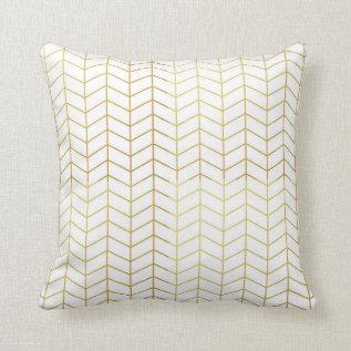 Herringbone Pattern Faux Gold Foil White Geometric Throw Pillow at Zazzle