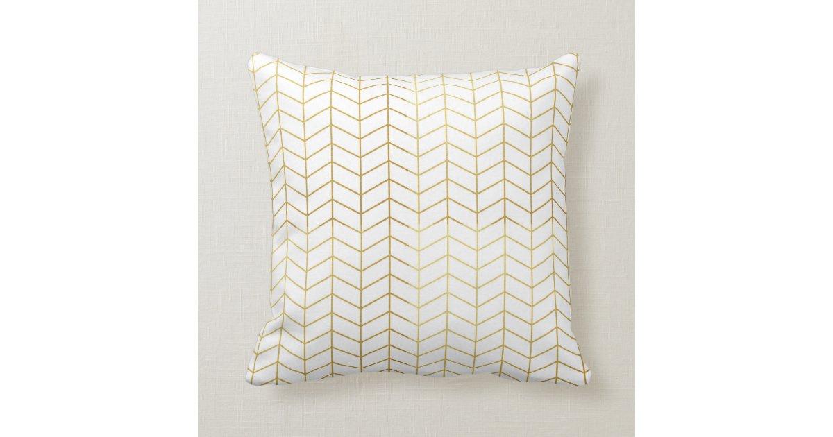 Gold Foil Decorative Pillow : Herringbone Pattern Faux Gold Foil White Geometric Throw Pillow Zazzle