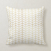 Herringbone Pattern Faux Gold Foil White Geometric Throw Pillow