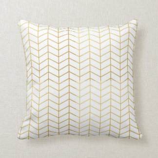 Herringbone Pattern Faux Gold Foil White Geometric Throw Pillow