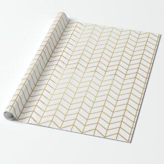 Herringbone Pattern Faux Gold Foil White Geometric Wrapping Paper