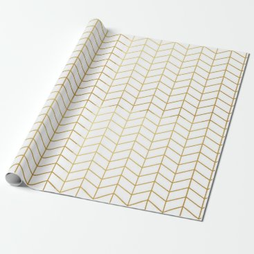 DifferentStudios Herringbone Pattern Faux Gold Foil White Geometric Wrapping Paper