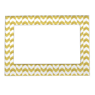 Herringbone Pattern Gold & White Magnetic Frame