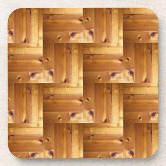 Herringbone Pine Wood Pattern Beverage Coaster