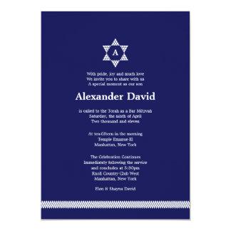 "Herringbone Star Bar Mitzvah Invitation 5"" X 7"" Invitation Card"