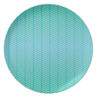 Herringbone Turquoise Blue Plate