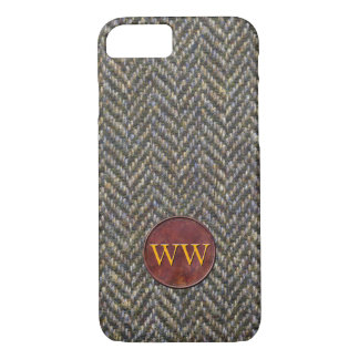 Herringbone Tweed and Leather Monogram iPhone 8/7 Case