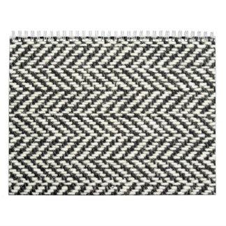 Herringbone Tweed Rustic Black & White Knit Print Wall Calendars