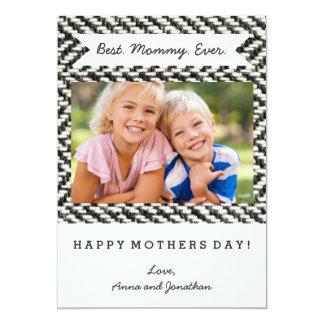 Herringbone Tweed Rustic Black & White Knit Print Card